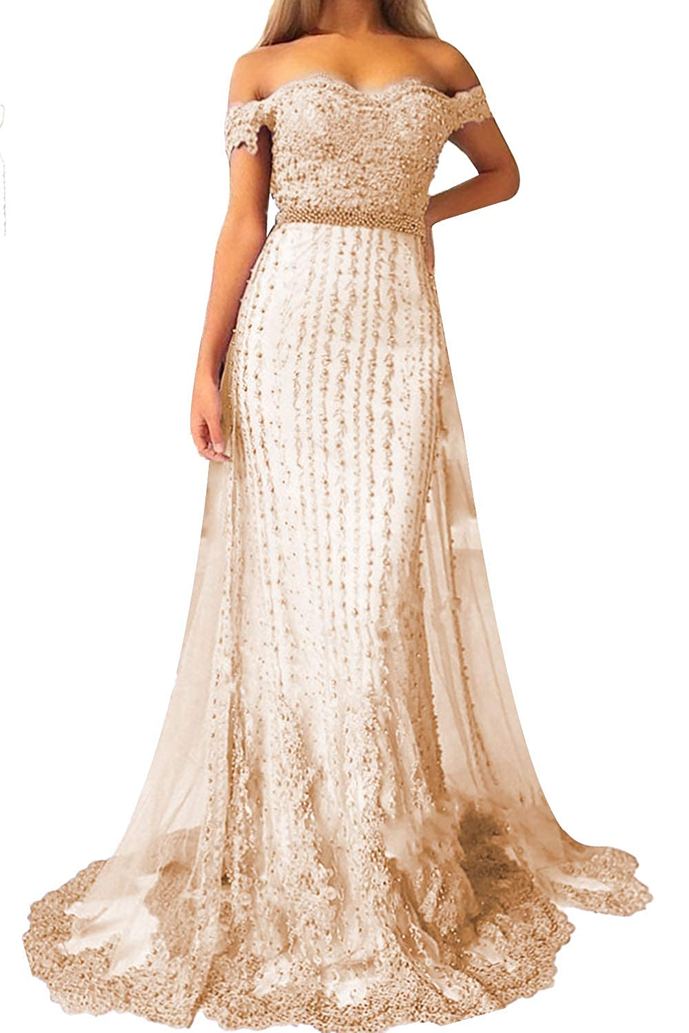 Champagne Promworld Women's Off The Shoulder Lace Applique Beaded Bridesmaid Dress Long Prom Dress with Train