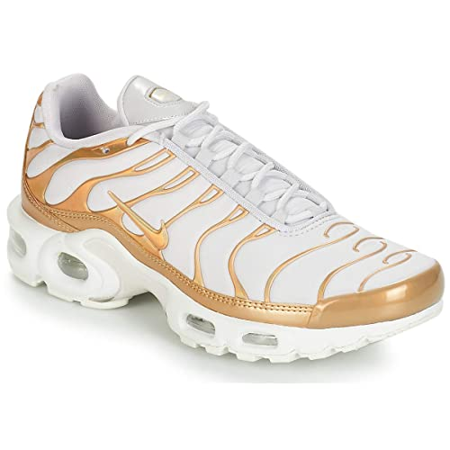 nike air max plus gs tn white metallic gold