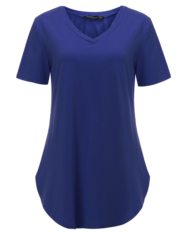 Stil kupol blus dam casual tunika långärmad tröja topp v-ringad lös långärmad toppar En blå