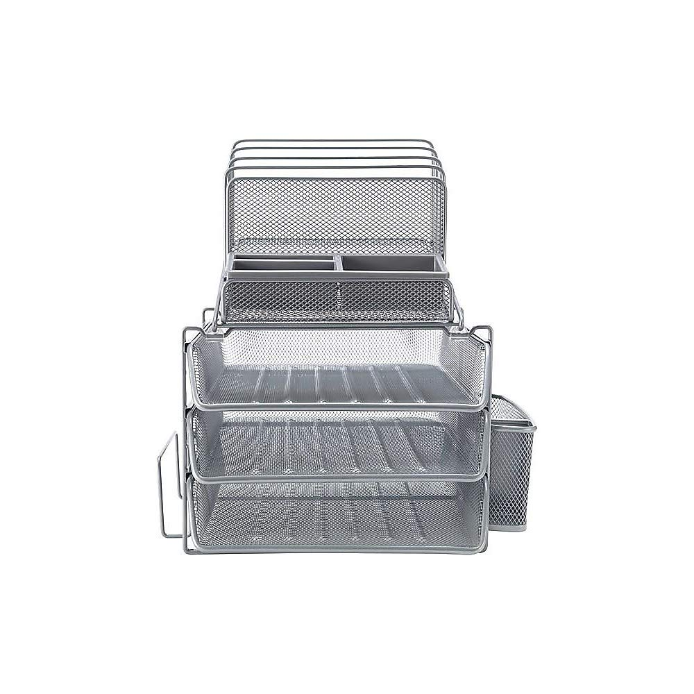 Fine Staples 1483998 All In One Silver Wire Mesh Desk Organizer 27642 Home Remodeling Inspirations Cosmcuboardxyz