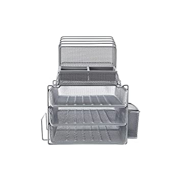 Strange Staples 1483998 All In One Silver Wire Mesh Desk Organizer 27642 Home Remodeling Inspirations Cosmcuboardxyz
