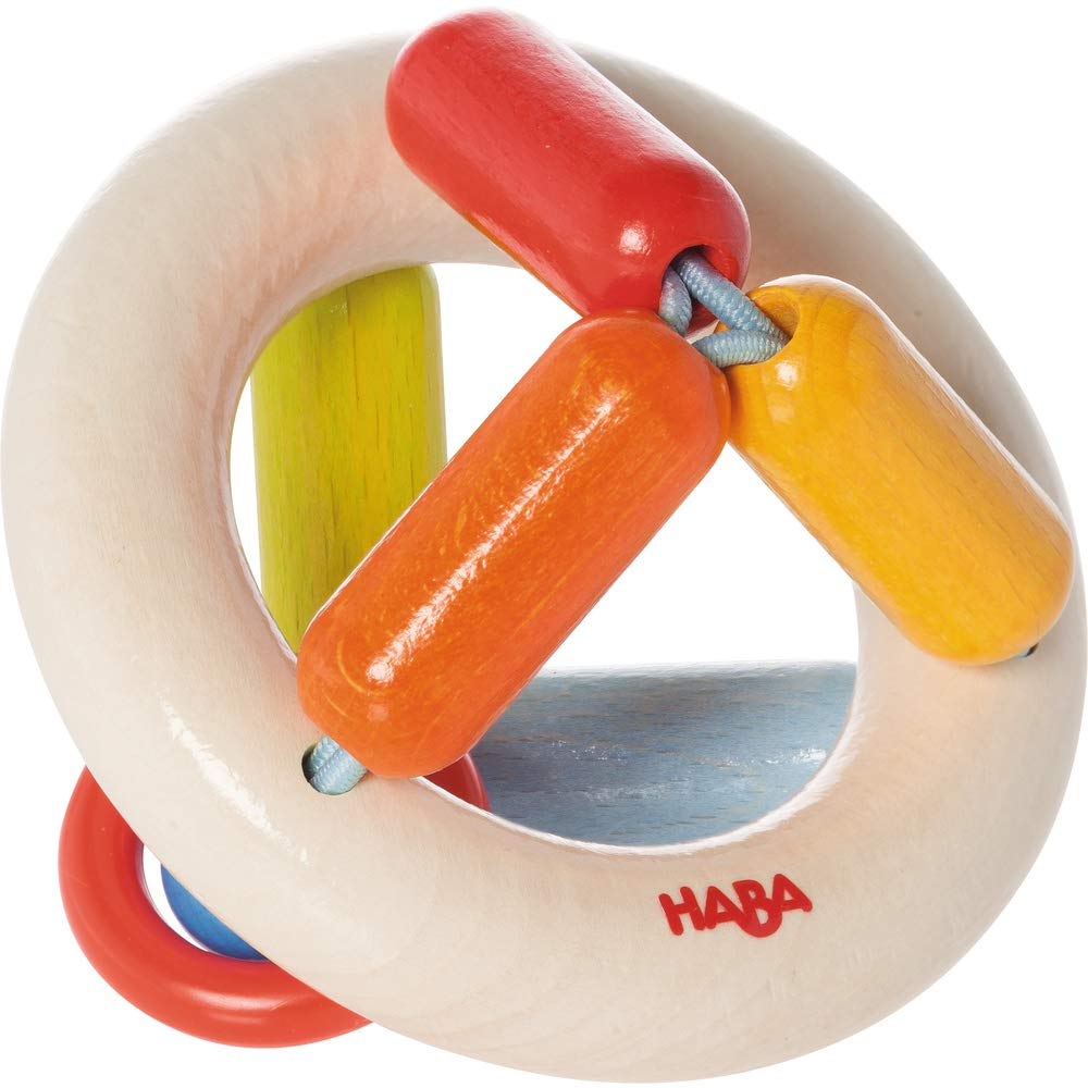HABA Clutching Toy Rainbow Round Maple Wood Manipulative Rattle & Teether (Made in Germany) by HABA