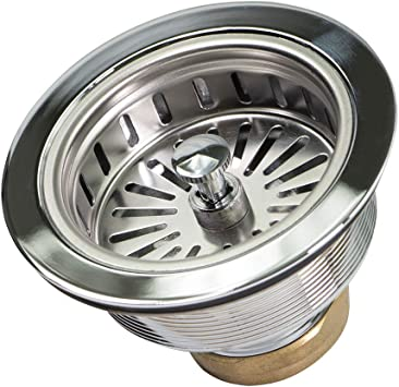 Highcraft 9735 Heavy Duty Kitchen Sink 3 1 2 Inch Stainless Steel Drain Assembly With Strainer Basket Kohler Style Stopper 1 79 Amazon Com