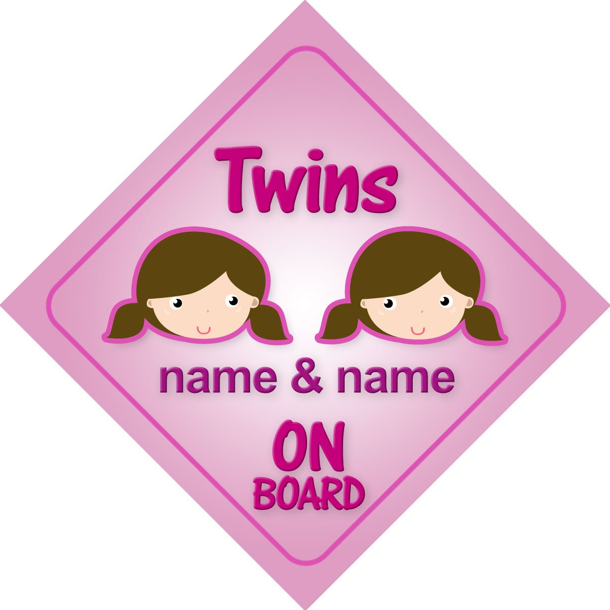 Twins girls on board personalised car sign new baby girl child twins girls on board personalised car sign new baby girl child gift present amazon baby negle Choice Image