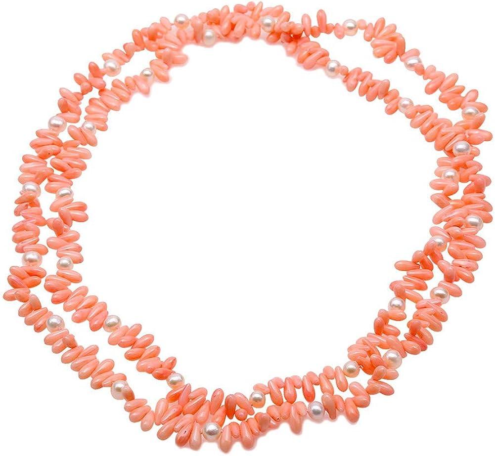 JYX Collar de perlas naturales de coral y perlas de color rosa largo y blanco perla de agua dulce collar de 51 pulgadas