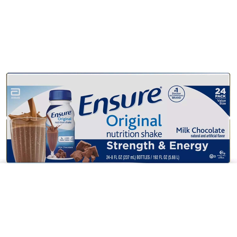 Ensure Original Nutrition Shake, Milk, 8 Chocolate 192 Fl Oz (Pack of 24)