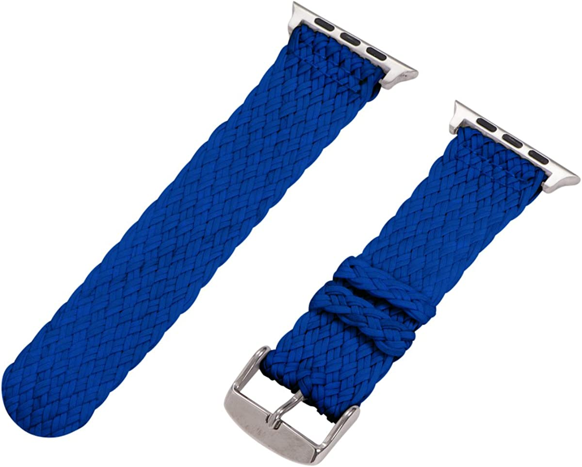 Clockwork Synergy - 2 Piece Double Perlon Band (SS) Compatible for 42mm Apple Watch Series (Blue)