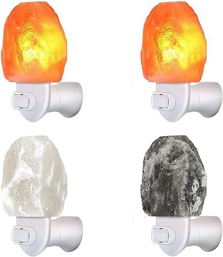 4 Pack 3 Color Himalayan Salt Rock Wall Night Light Pink Gray White Salt Lamp