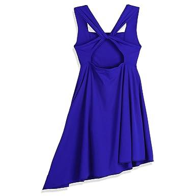 CHICTRY Enfant Fille Robe Asymétrique de Danse Femme sans Manche Robe de  Danse Salsa Latine Rumba 9bf2ce7a360