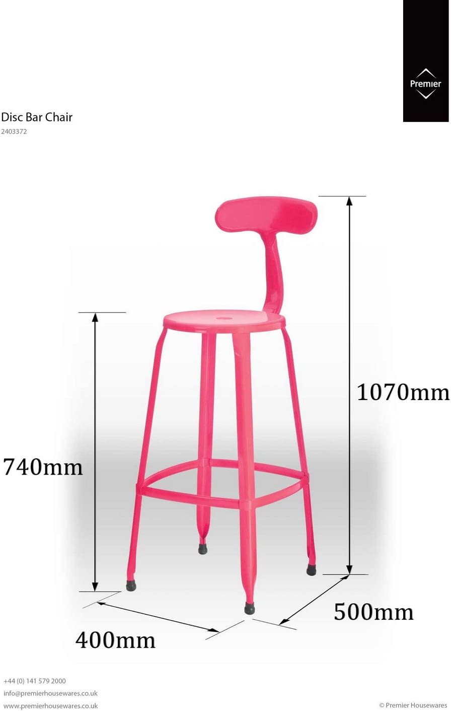 Premier Housewares Hot Pink Disc Bar Stool with Step [Set of 4]