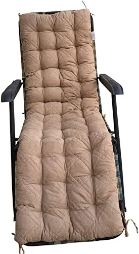OctoRose Soft Micro Suede Outdoor Recliner Cushion Pads Bench Cushion Covers, Patio Long Chair Pads 17×75, Camel