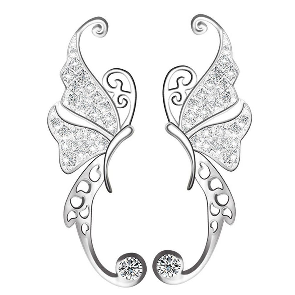CIShop Butterfly Climber Earrings Cubic Zirconia Stud Earrings Sterling Silver Ear Cuff Earrings