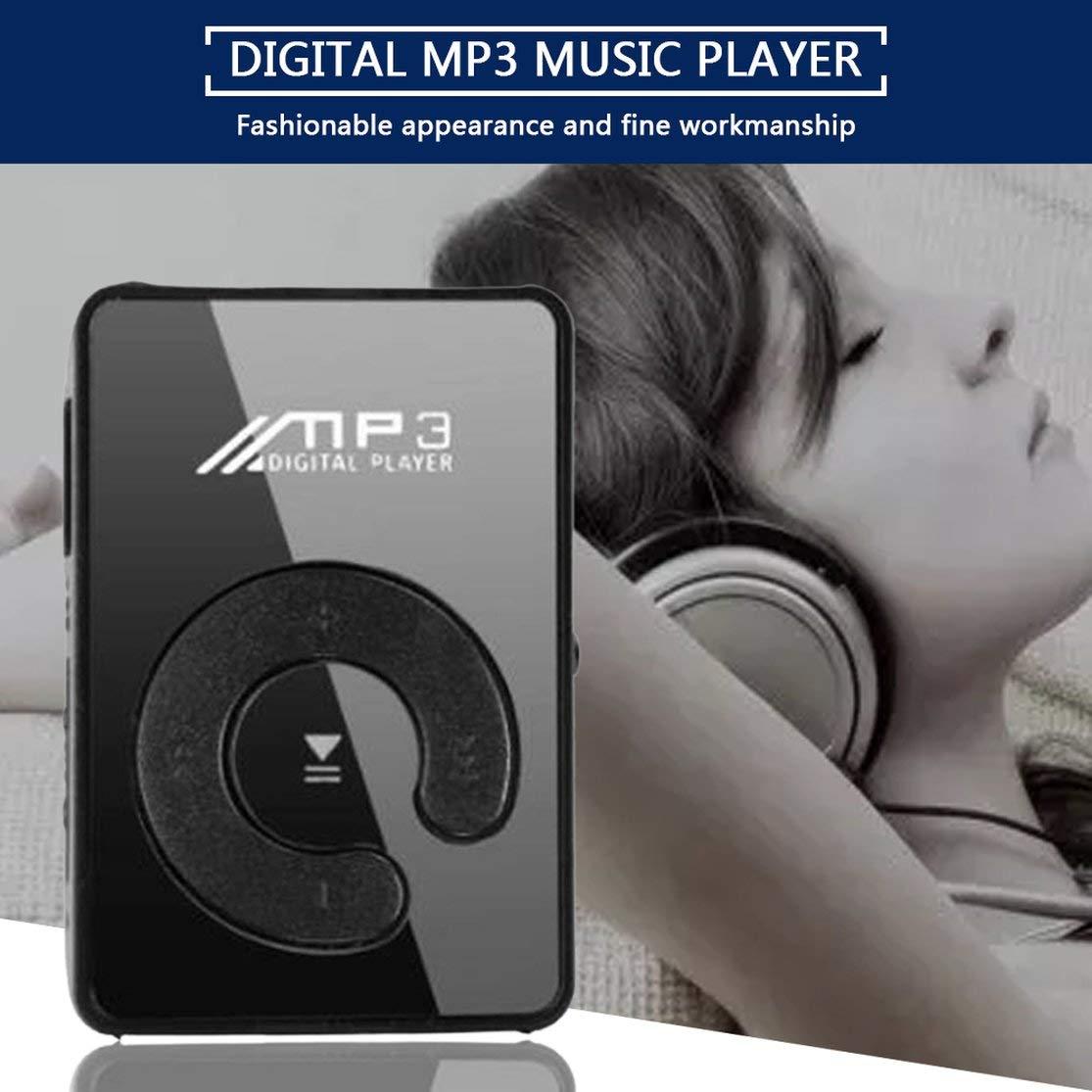 Mini Mirror Clip Lettore MP3 Portable Fashion Sport USB Digital Music Player Micro SD TF Card Media Player Color:Black