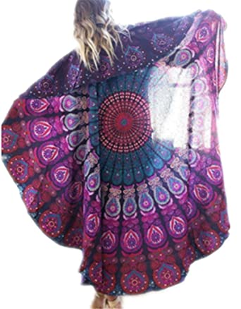 Damen Elegant Sommerkleid Strandkleid Blumen Drucken Tunika Hipster Basic  Kleid Böhmen Strand poncho Strand Pareo Sonnenschutz Bikini Bluse:  Amazon.de: ...