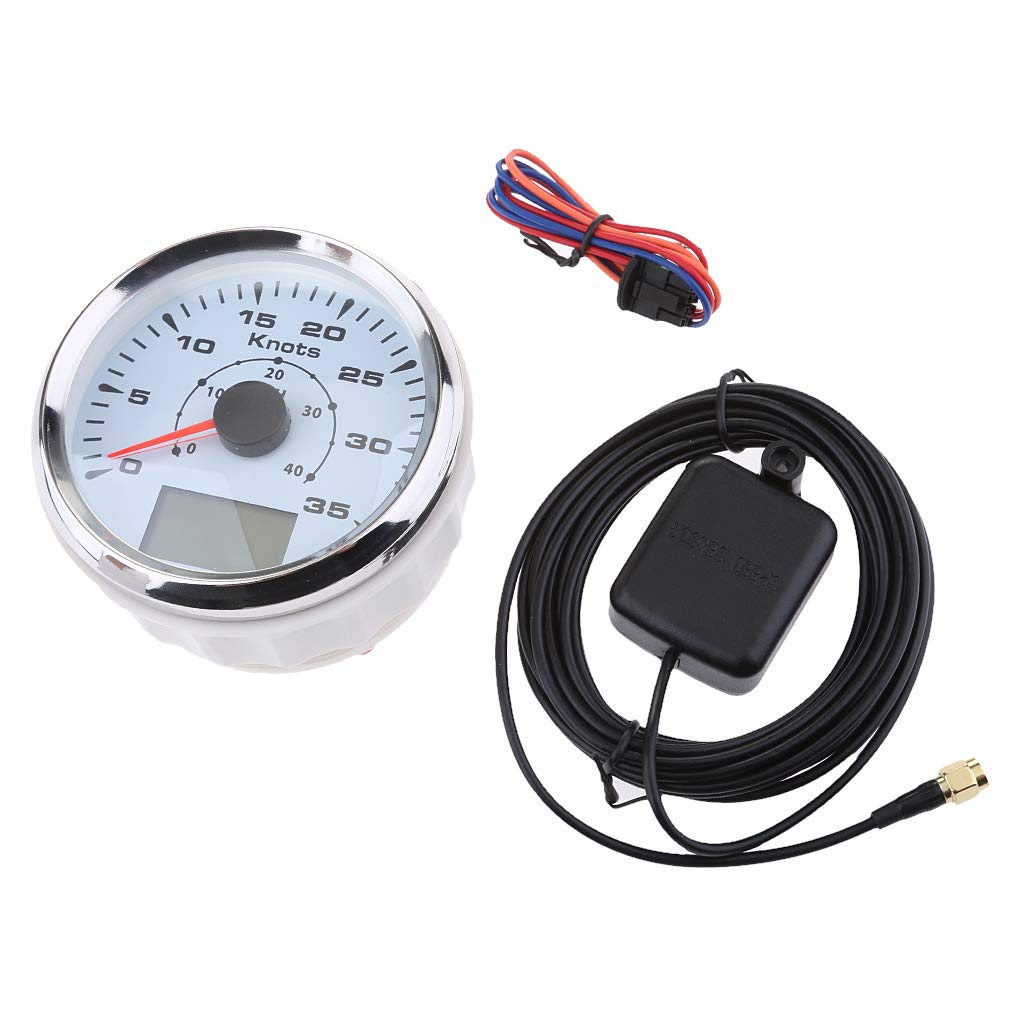 Homyl 3-3/8 inch 85mm 8 Backlight Universal GPS Speedometer 0-35Knots 0-40MPH GPS Speed Odometers Gauges Indicators for Boat Yacht - White Dial Chrome Bezel