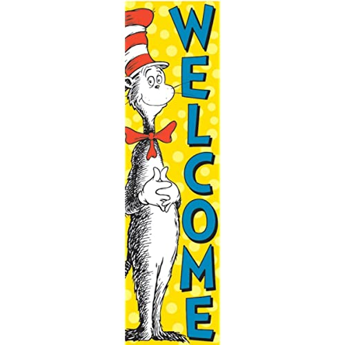 eureka dr seuss vertical classroom banner cat in the hat welcome 4 ft - Dr Seuss Christmas Decorations
