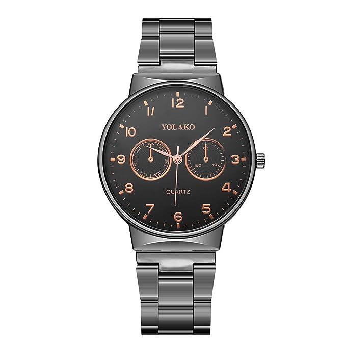 Mymyguoe Correa de Acero para Hombre Relojes Hombre Unisex Reloj de Pulsera Relojes de Pulsera para Hombres Reloj Mujer Moda Reloj analogico Reloj de Dama: ...