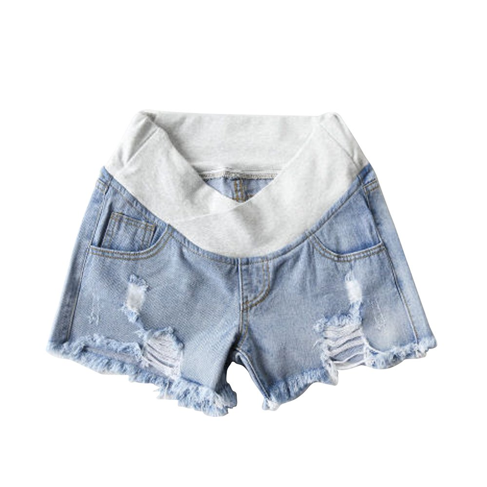 LIURUIJIA Women's Summer Adjustable Elastic Care Belly Denim Shorts Jeans for Maternity PregnantYF013-light Blue-L