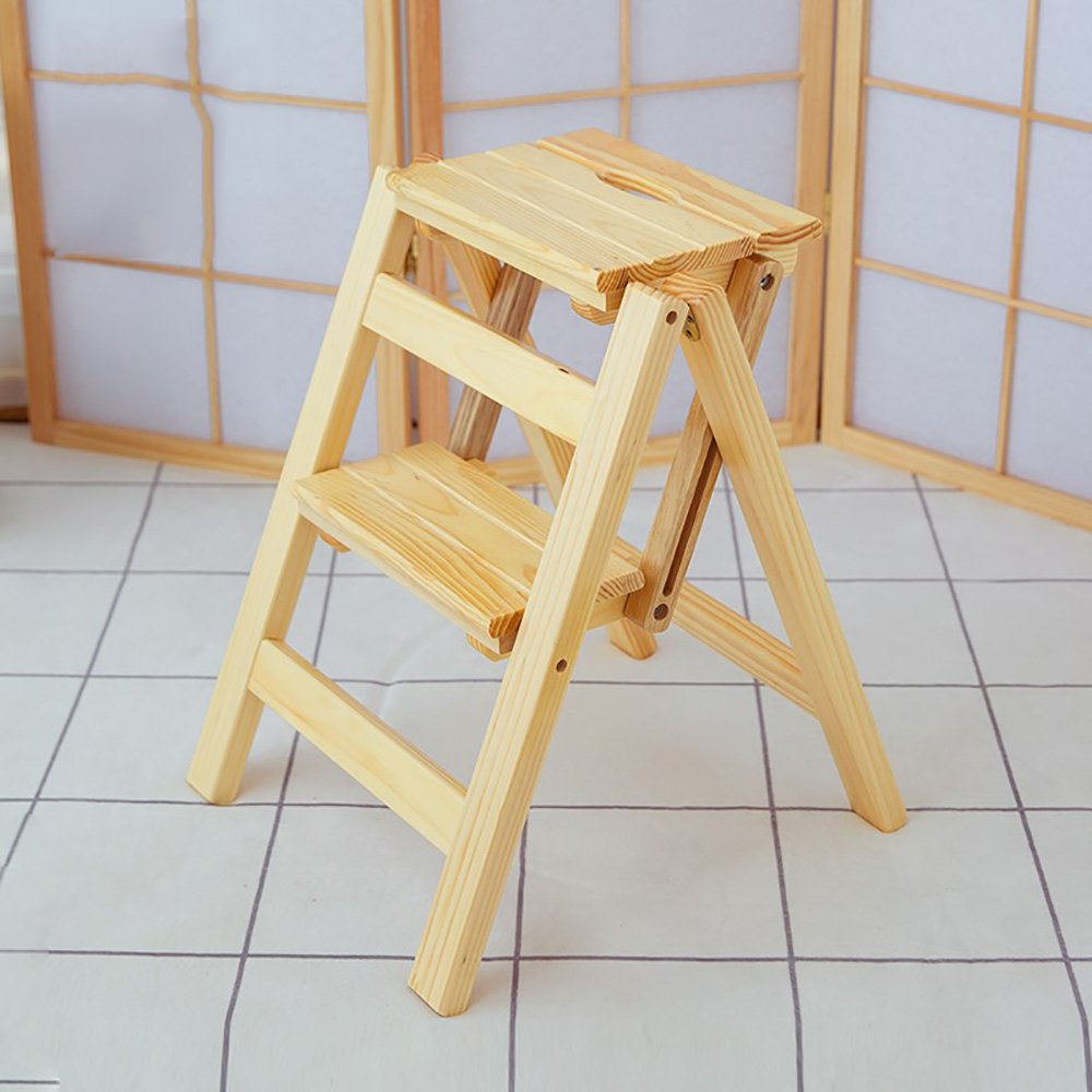 A-Wood color 4739cm ZZHF dengzi Simple Solid Wood Footstool Collapsible Step Stool Changing shoes Stool Creative Ladder (4 colors Available) (color   A-Wood color, Size   47  39cm)