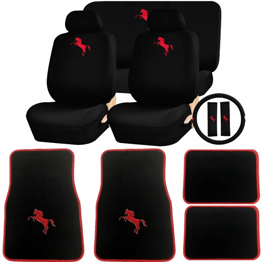 INC 15pc RED MUSTANG HORSE W//RED OUTLINE CARPET MATS SEAT COVER STEERING COVER SET U.A.A