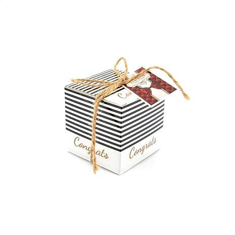 Hoxekle - 100 cajas cuadradas para dulces y dulces de boda, para bodas, fiestas