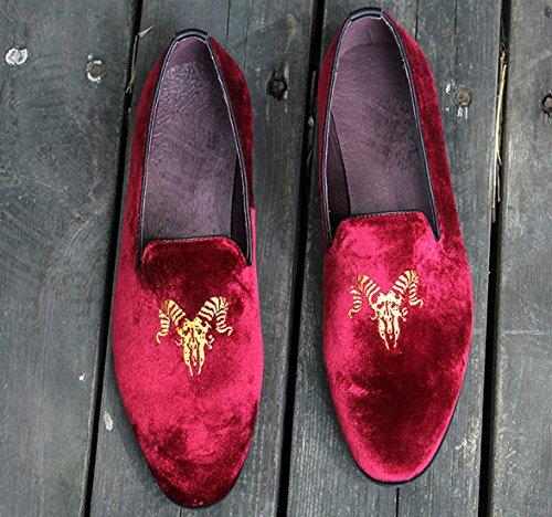 Mocassini Da Smoking Pantofole Da Uomo Vintage In Velluto Ricamo Casual Slip-on Mocassini Scarpe Nero Blu Grigio Rosso