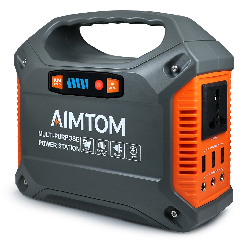 AIMTOM Portable Solar Generator, 42000mAh 155Wh Energy Inverter Supply, Emergency Backup Battery Box with Flashlights, Power Station for Camping, Home, CPAP, Car ( 110V AC Outlet, 3x12V DC, 3x USB)