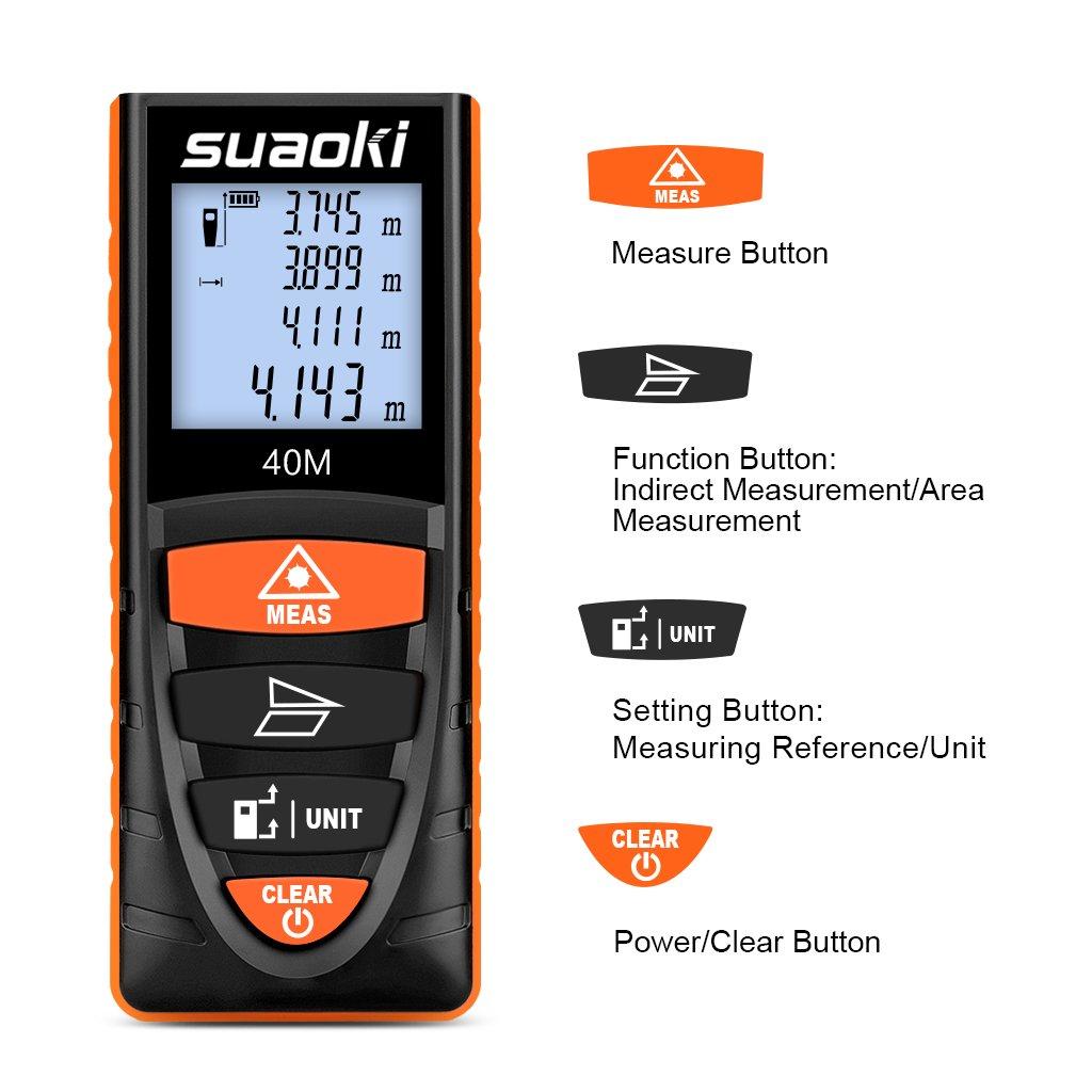 Suaoki D8 40M T/él/ém/ètre Laser Metre Laser Num/érique Intelligent LCD R/étro-/éclair/é 4 Pouces Mode Mesure /à Distance//Mesure Continue//Zone//Pythagoricien