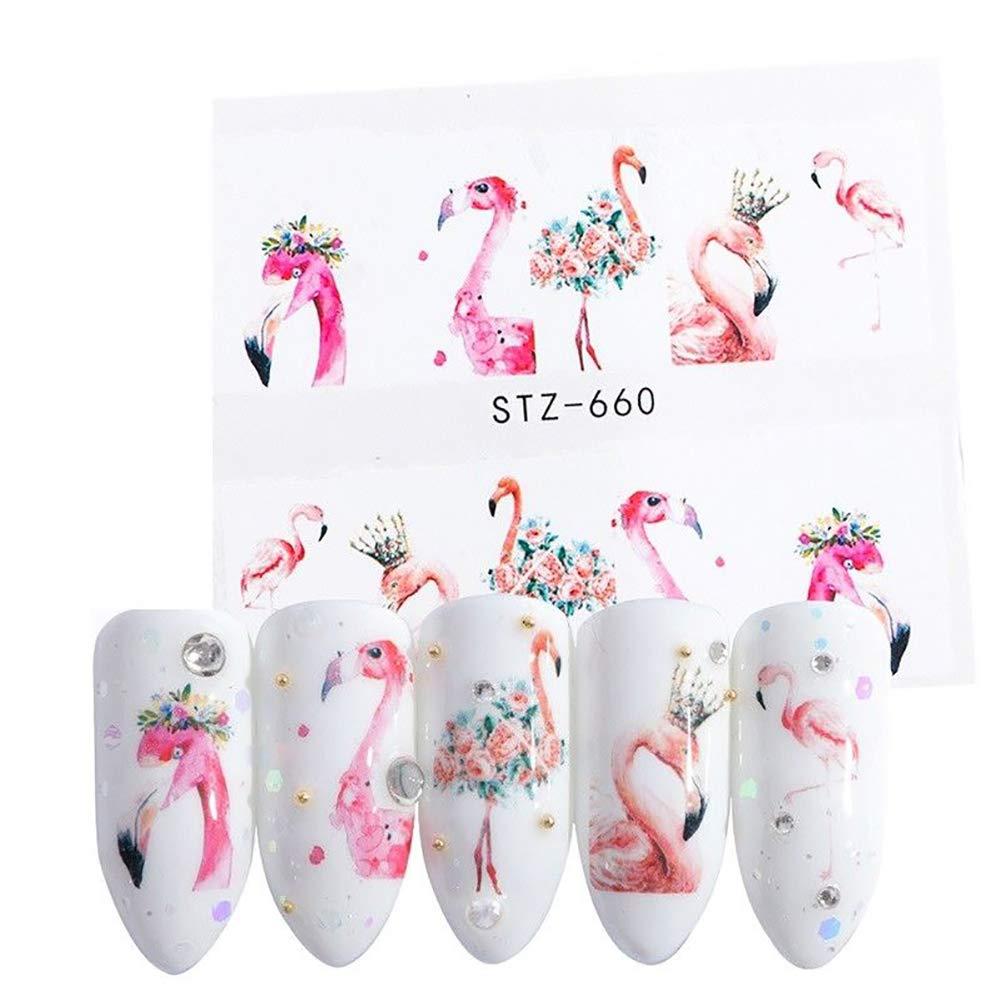 WliYaGg10Pcs Fashion Flamingo Water Transfer Manicure Decal DIY Nail Art Stickers Decor