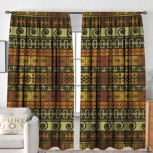 NUOMANAN Home Decoration Thermal Insulated Curtains Zambia,Ethnic Ornamental Abstract Heritage Traditional Ceremony Ritual Image,Gold Dark Brown Orange,for Bedroom,Nursery,Living Room 54