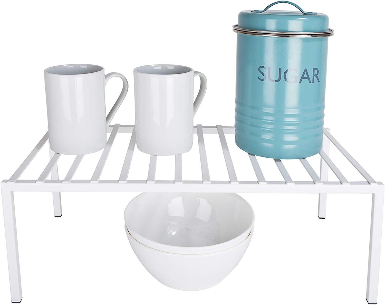 Smart Design Premium Kitchen Storage Shelf w/Plastic Feet - Large - Steel Metal Frame - Rust Resistant Coating - Counter, Pantry, Shelf Organization - Kitchen (16 x 6 Inch) [White]