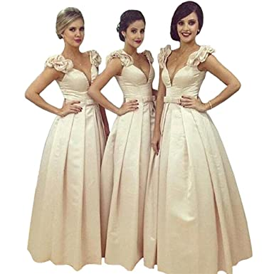 Champagne Bridesmaid Dresses Satin Cap Sleeve Deep V-neck Satin Prom Dress for Bridesmaid Dresses
