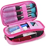 Makeup Organizer Bag-Lingge Cosmetic Bag with Mirror-Professional Makeup Brush Bag for Teenages and Girls(Pink)