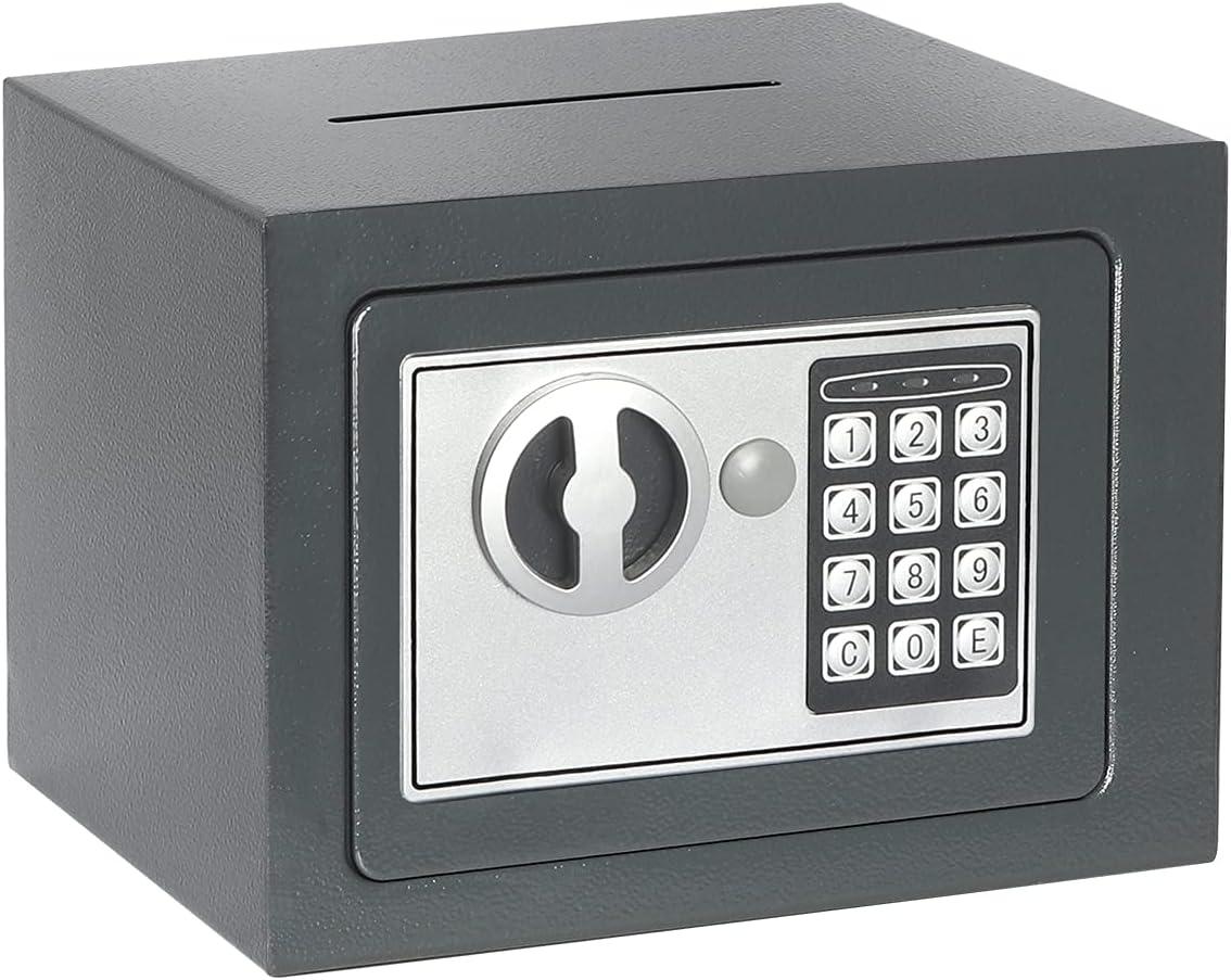 Jssmst Small Safe Box, 0.17CF Mini Safe Kids Safe Box for Home Office, Personal Safe Lock Box with Electronic Keypad, Money Safe Box, 9.06 x 6.69 x 6.69 inch, SM-SF027, Grey