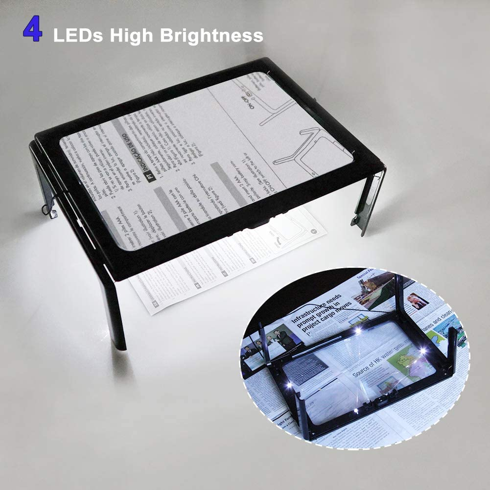 Carte Gioielli Riviste Cucito Anziani Lente per Lettura con Luce LED Ultrathin Pieghevole 3X A4 Rettangolare con 4 LED Lente di Ingrandimento per Libro
