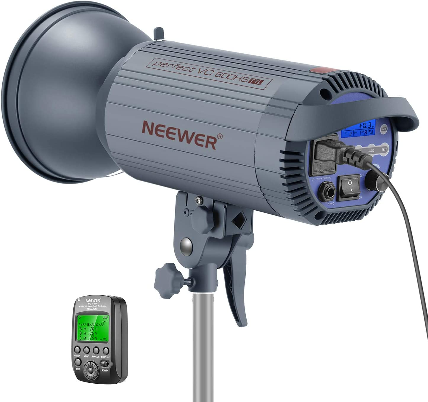 Neewer 600W TTL HSS 1/8000s GN86 Studio Strobe Flash Light Monolight with 2.4G Wireless Trigger for Canon DSLR Cameras,Recycle 0.6 Sec, Bowens Mount for Indoor Studio Portrait Photography(VC 600HS)