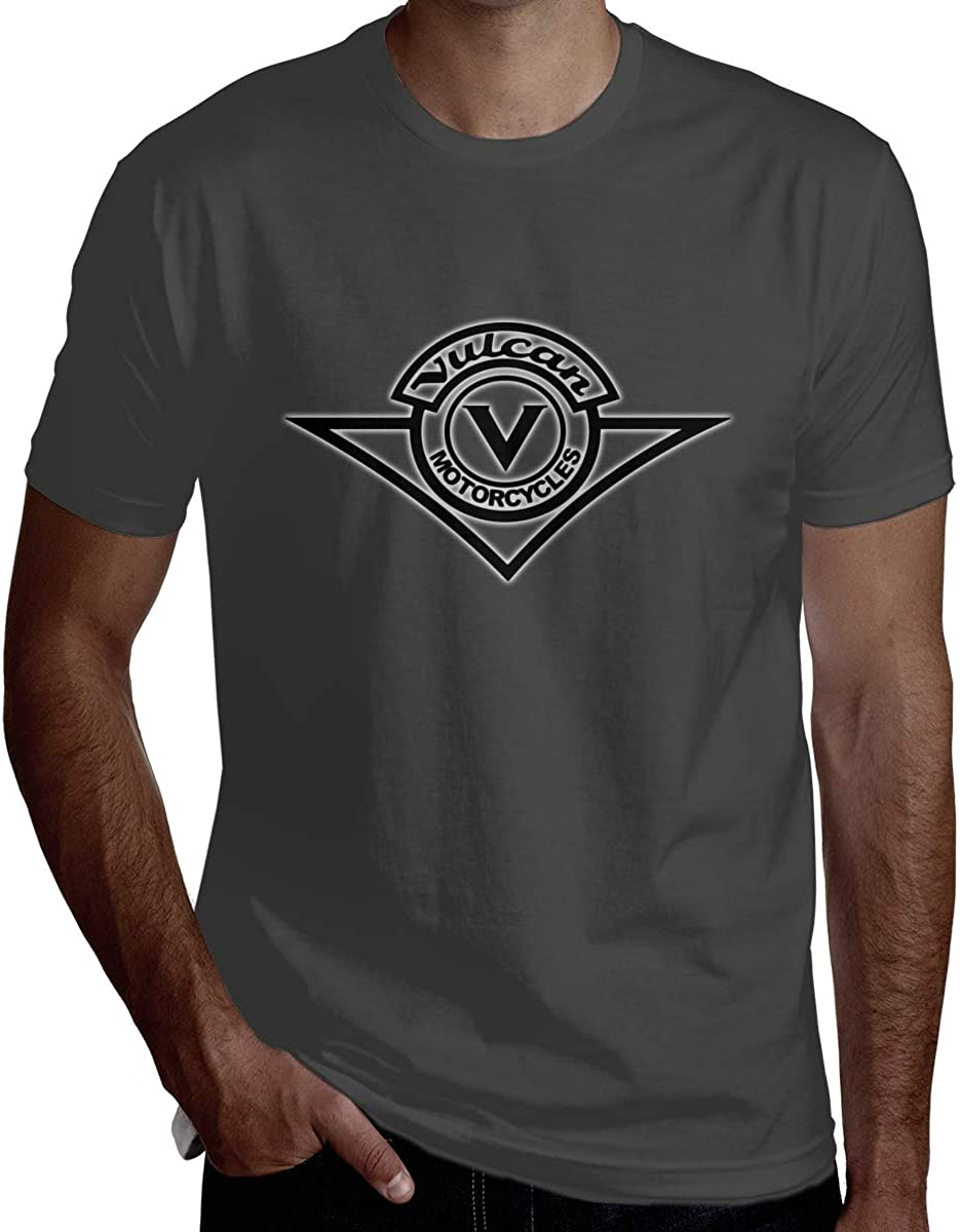 HRSHEN Custom Kawasaki-Vulcan-Motorcycle-Logo T Shirts for Mens Short Sleeve Deep Heather