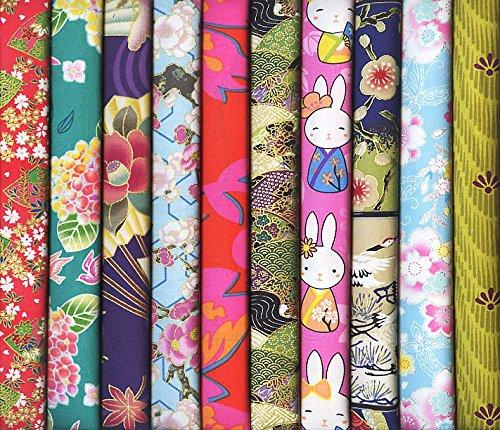 10 Asian Japanese Fat Quarter Quilt Fabric Bundle: Asst 1...