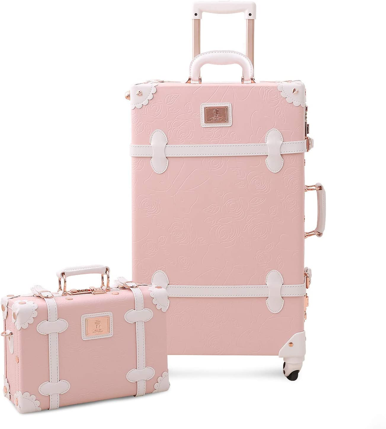 Mosslanda Vintage Suitcase Set 24 inch Retro Spinner Trunk Luggage with 12 inch Train Case for Women