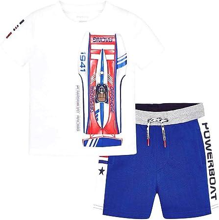 Conjunto de camiseta y pantalón corto,Camiseta de manga corta son serigrafía,Algodón,Cordón ajustabl