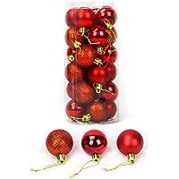 Bola de enfeite de Natal, kaxue 24 unidades 4/6 / 8Cm Glitter Bola de Natal inquebrável Baubles Enfeites Multicolor…