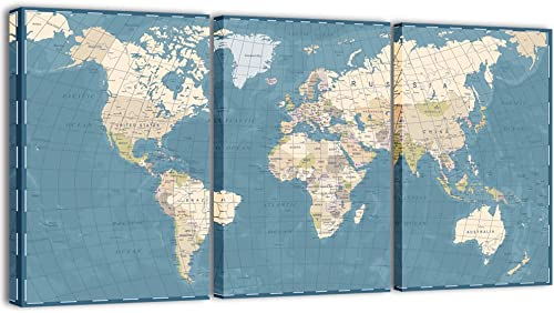 Visual Art Decor 3 Pieces Xlarge Blue Retro World Map Canvas Prints Atlas Framed and Stretched Map Wall Art Decor