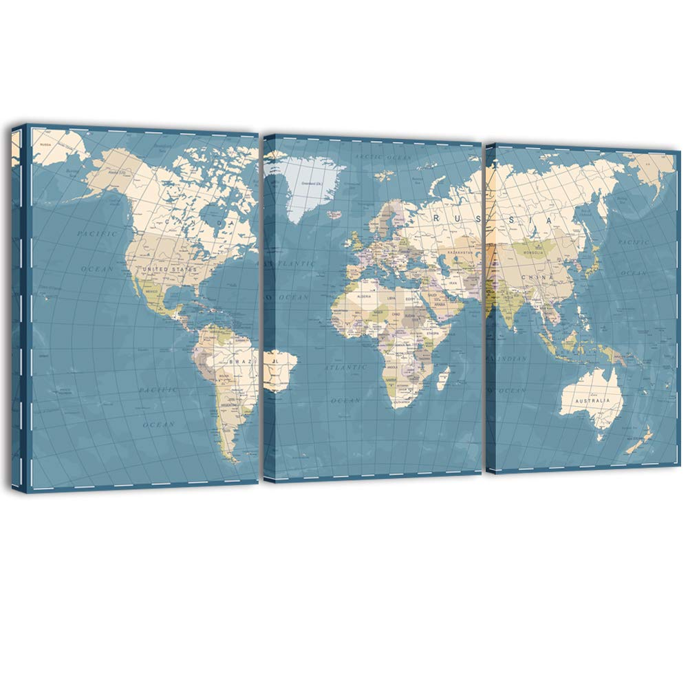 Visual Art Decor 3 Pieces XLarge Blue Retro World Map Canvas Prints Atlas Framed and Stretched Map Wall Art Decor for Travel Pin Marks Map Pictures Office Living Room Decoration (32''x60'')
