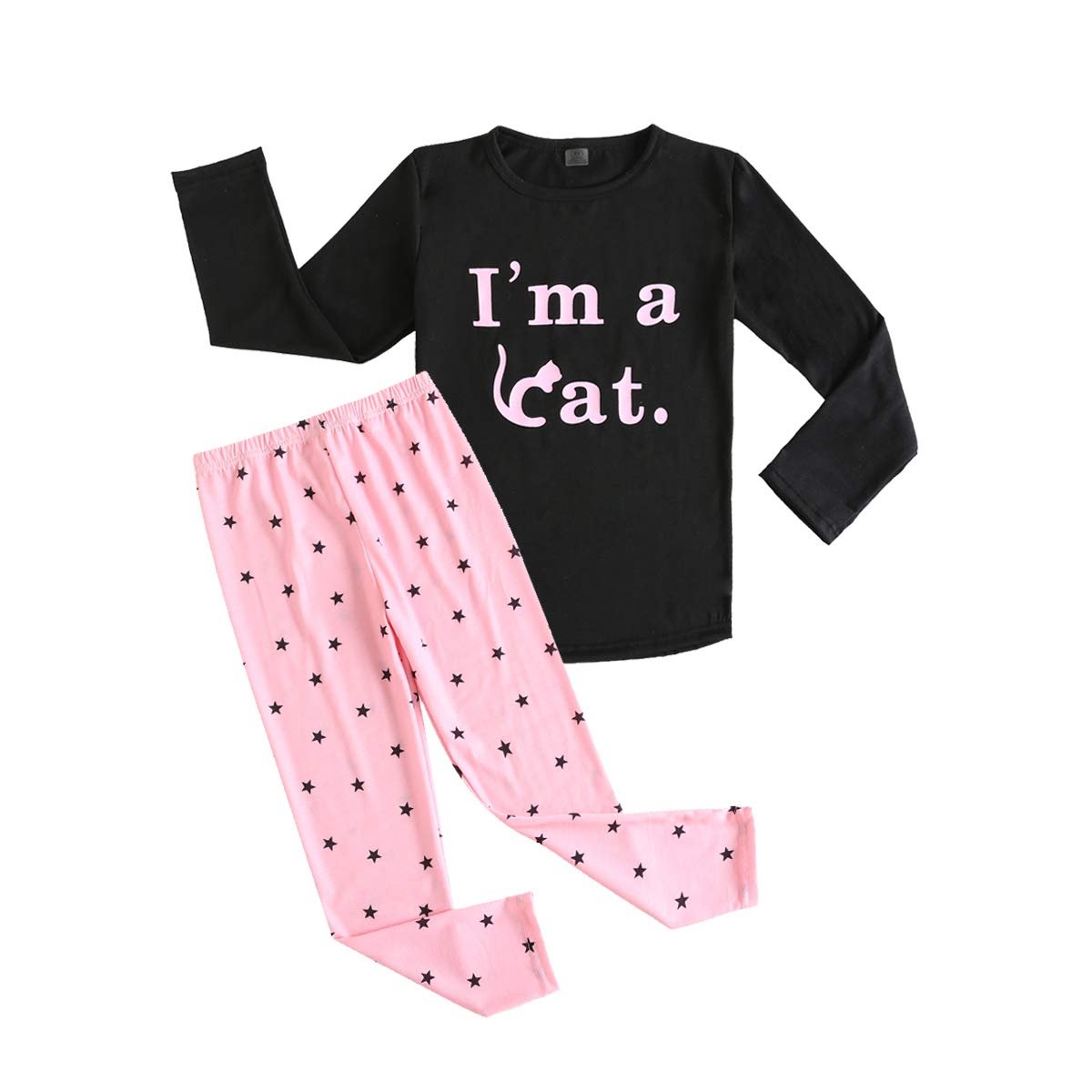 3ef96b8153e4 MyFav Big Girls Cat Letter Print Pajama Sets Cotton Sleepwear Size 6-14  Years