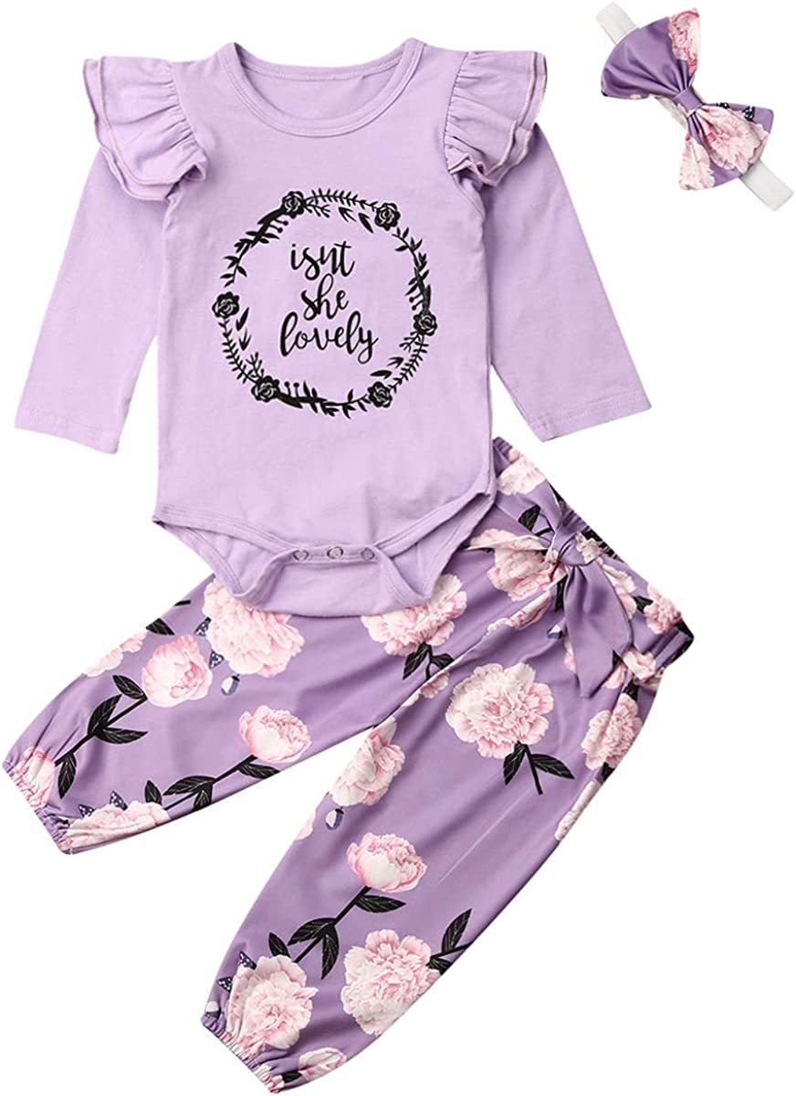 Newborn Baby Girl Clothes Isnt She Lovely Outfit White Romper Bodysuit Tops Floral Pants Set with Headband Hat 4Pcs Clothing