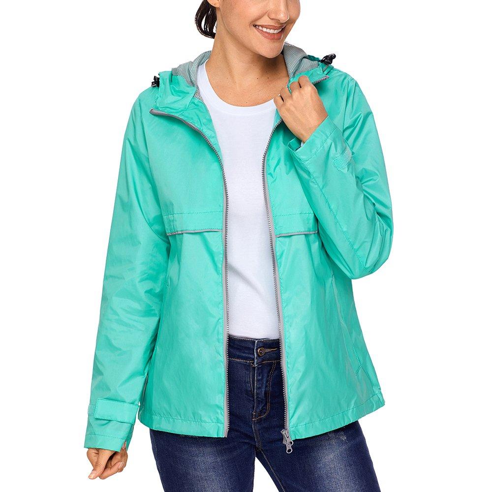 Lrud Women's Raincoat Lightweight Waterproof Rain Jacket Hoodie Active Casual Coat Mint-Green XL
