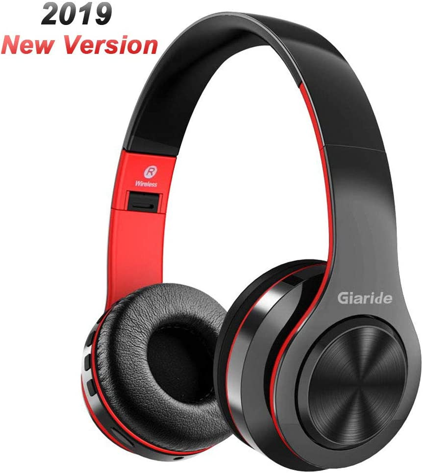 Bluetooth Headphone, GIARIDE Stereo Wireless Headset with TF Card Input, Aux line, Soft Earmuffs, Built-in Mic and Foldable Design for PC, Cell Phones, Video Game-Red
