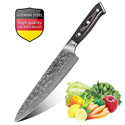 Cuchillo Chef de 20cm, Cuchillos de Cocina con Cuchillo de Damasco, Cuchillo de Frutas y Verduras de Carne, Mejor Cortador de Alimento para el Hogar y ...