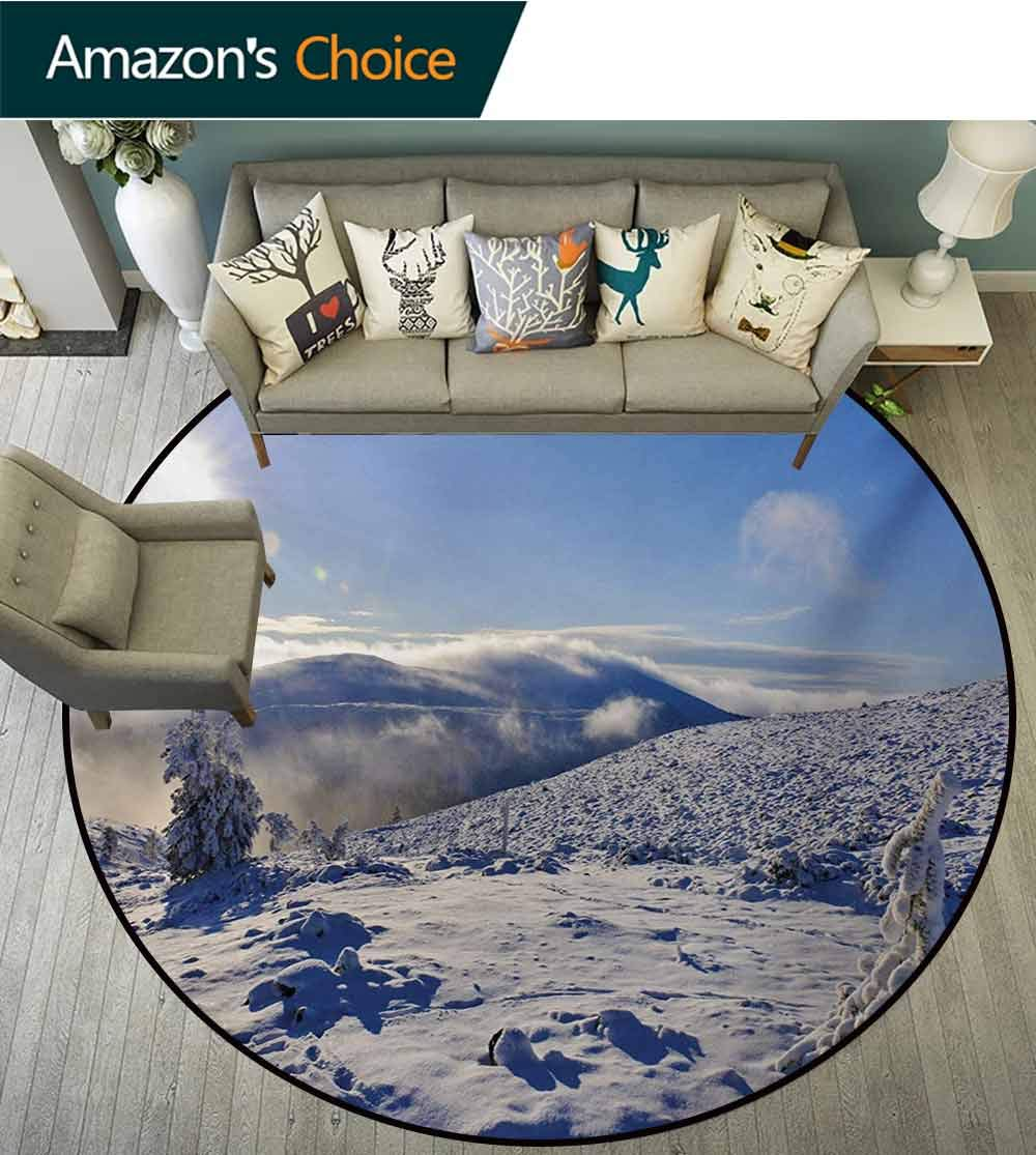 Winter Round Rug,Snowy Landscape from The Top of A Hill Clear Sky Winter Season Photography Carpet Door Pad for Bedroom/Living Room/Balcony/Kitchen Mat,Diameter-59 Inch Blue Pale Yellow