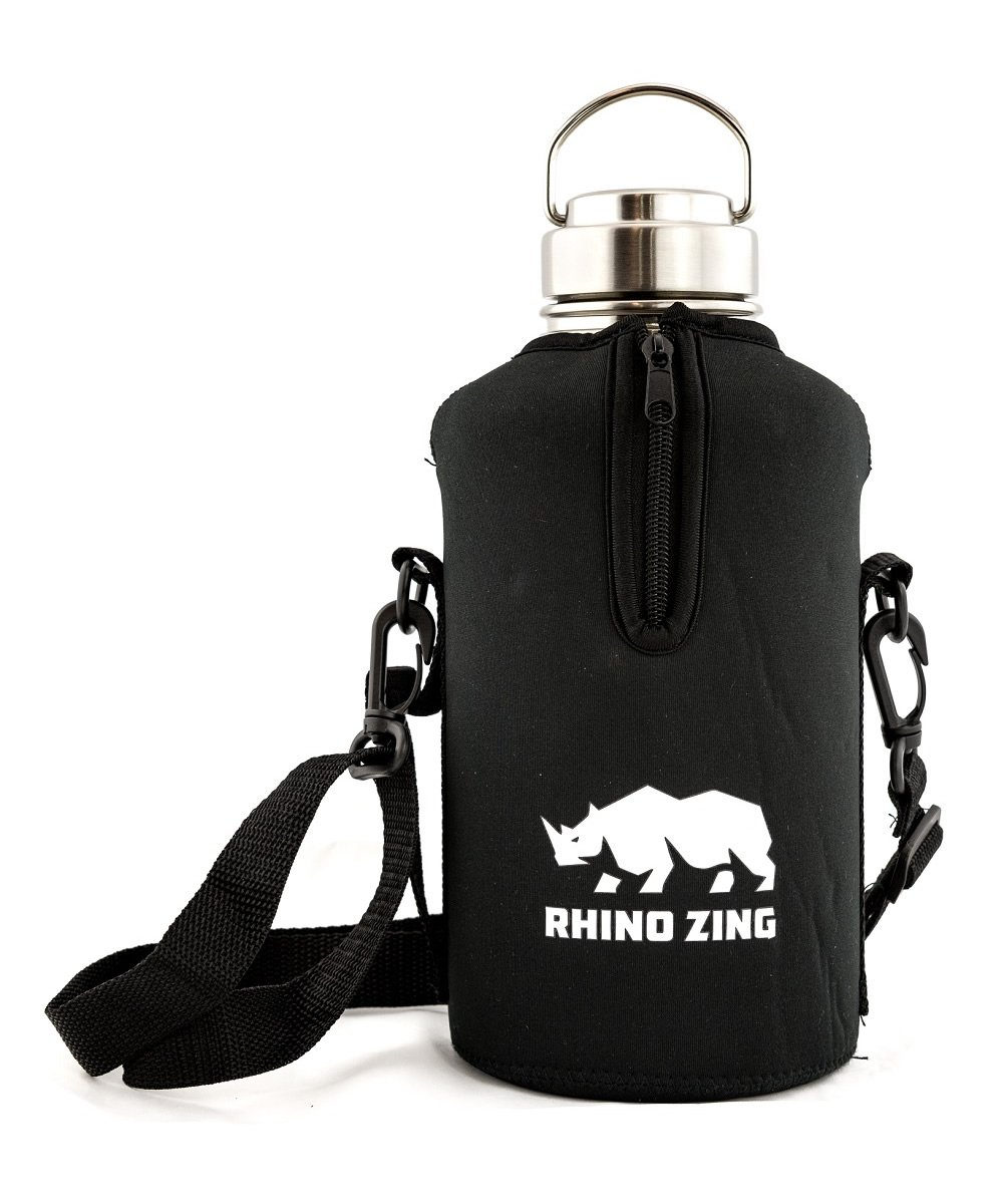 Rhino Zing Stainless Steel Water Bottle and Beer Growler w/Sleeve/Pouch and Stainless Steel Lid, Insulated, Wide Mouth, 64-Ounce, Classic Stainless